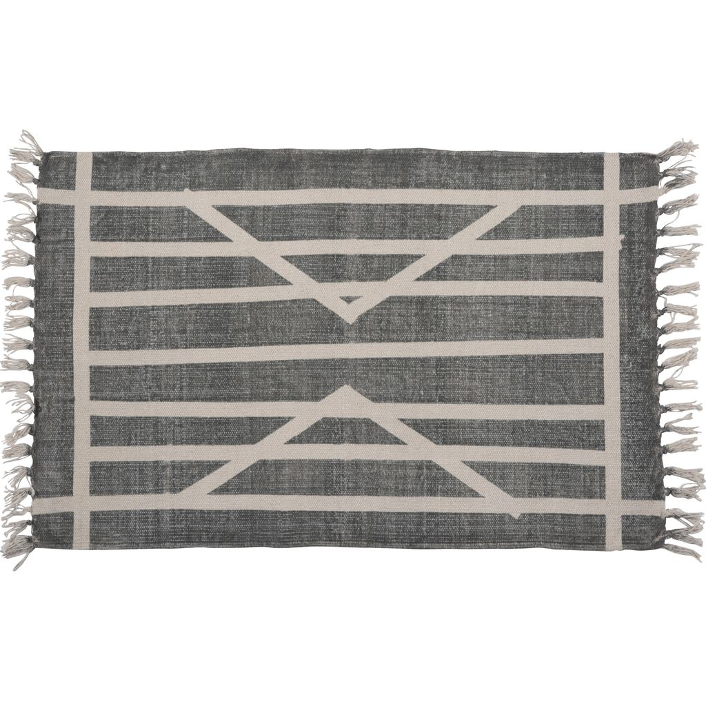 homart block print rug cotton rug, 2x3 centerpoint stripe - areohome 2x3 Rugs