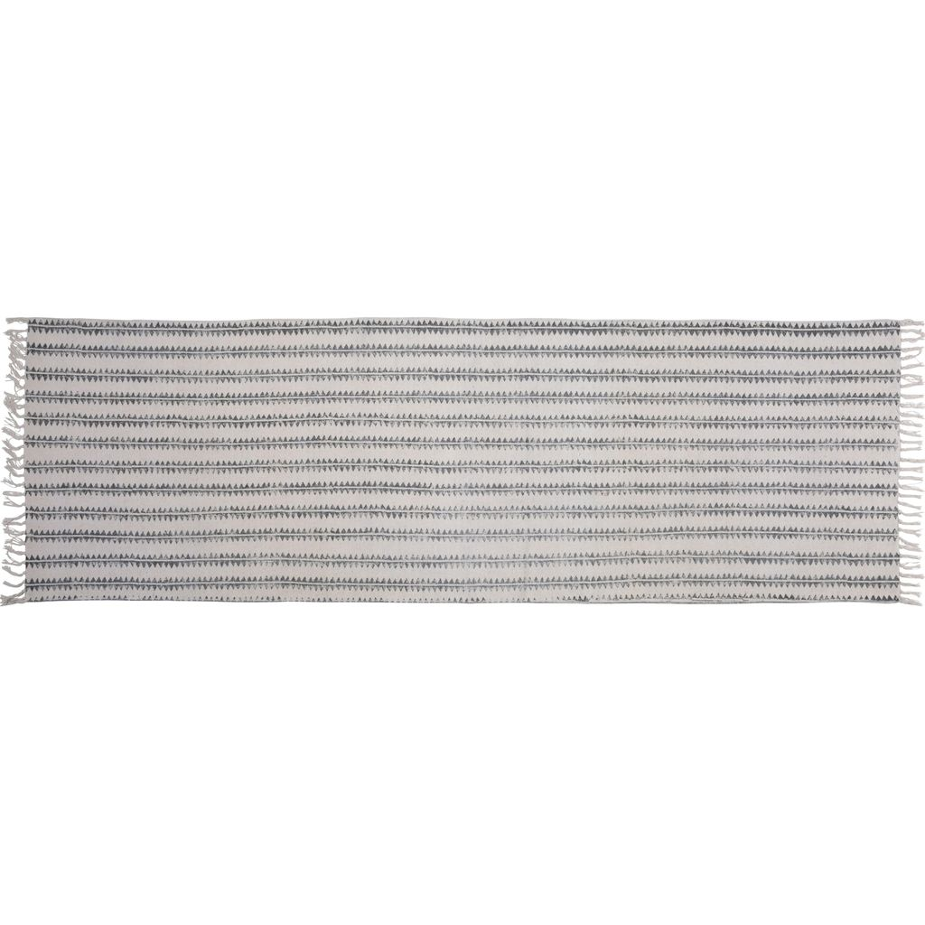 HomArt Block Print Rug Cotton Runner, 2.5x8  Sawtooth Stripe