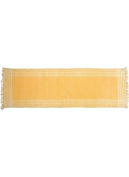 HomArt Summerset Cotton Runner, 2.5x8  Yellow with White Stripes