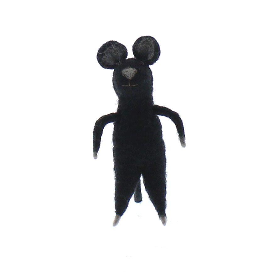 HomArt Felt Black Mouse Ornament  Black