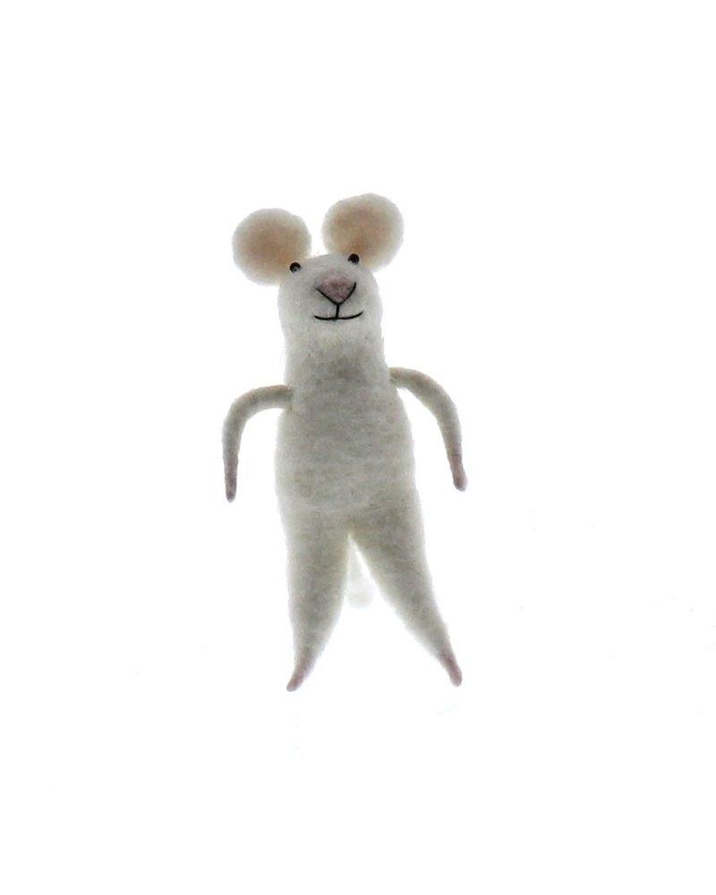 HomArt Felt White Mouse Ornament  White