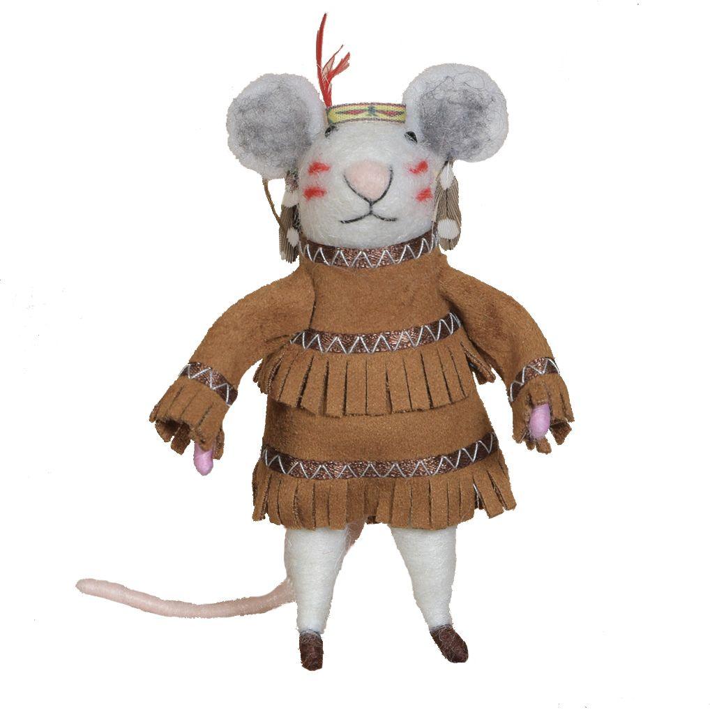 HomArt Felt Native American Mouse Ornament