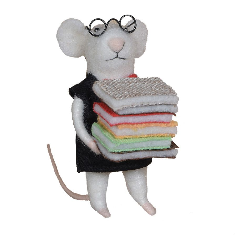 HomArt Felt Librarian Mouse Ornament