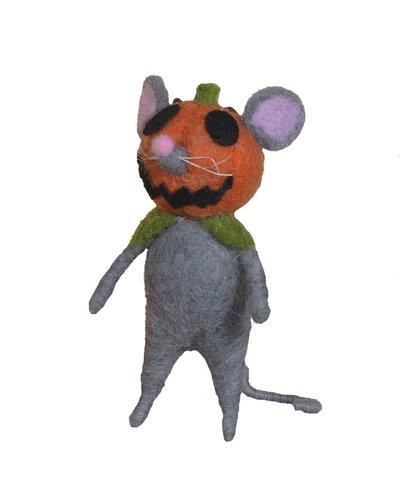 HomArt Felt Pumpkin Head Mouse Ornament