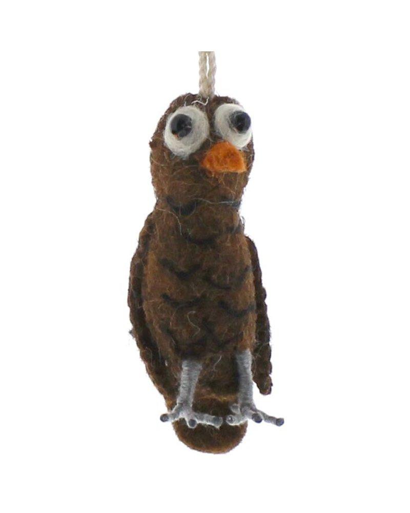 HomArt Felt Owl Ornament  Brown