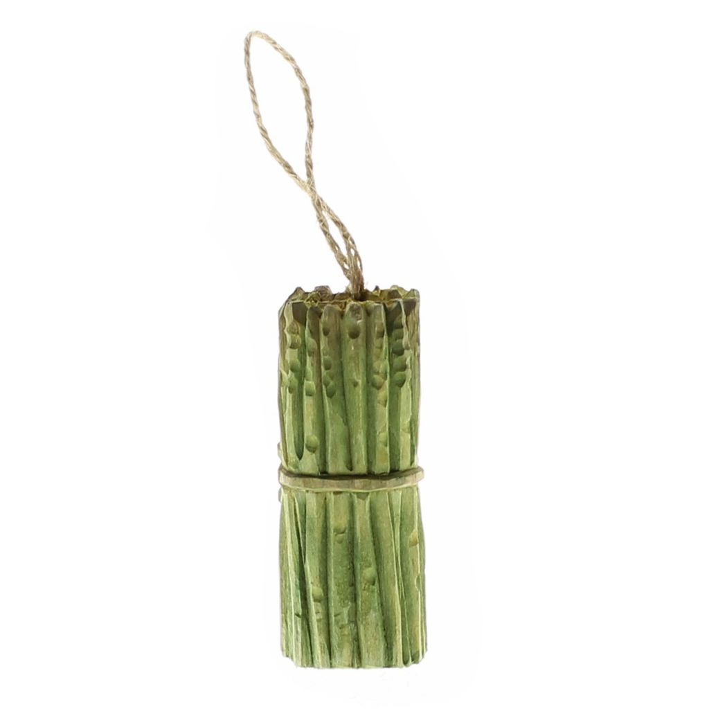 HomArt Carved Wood Vegetable Ornament - Asparagus