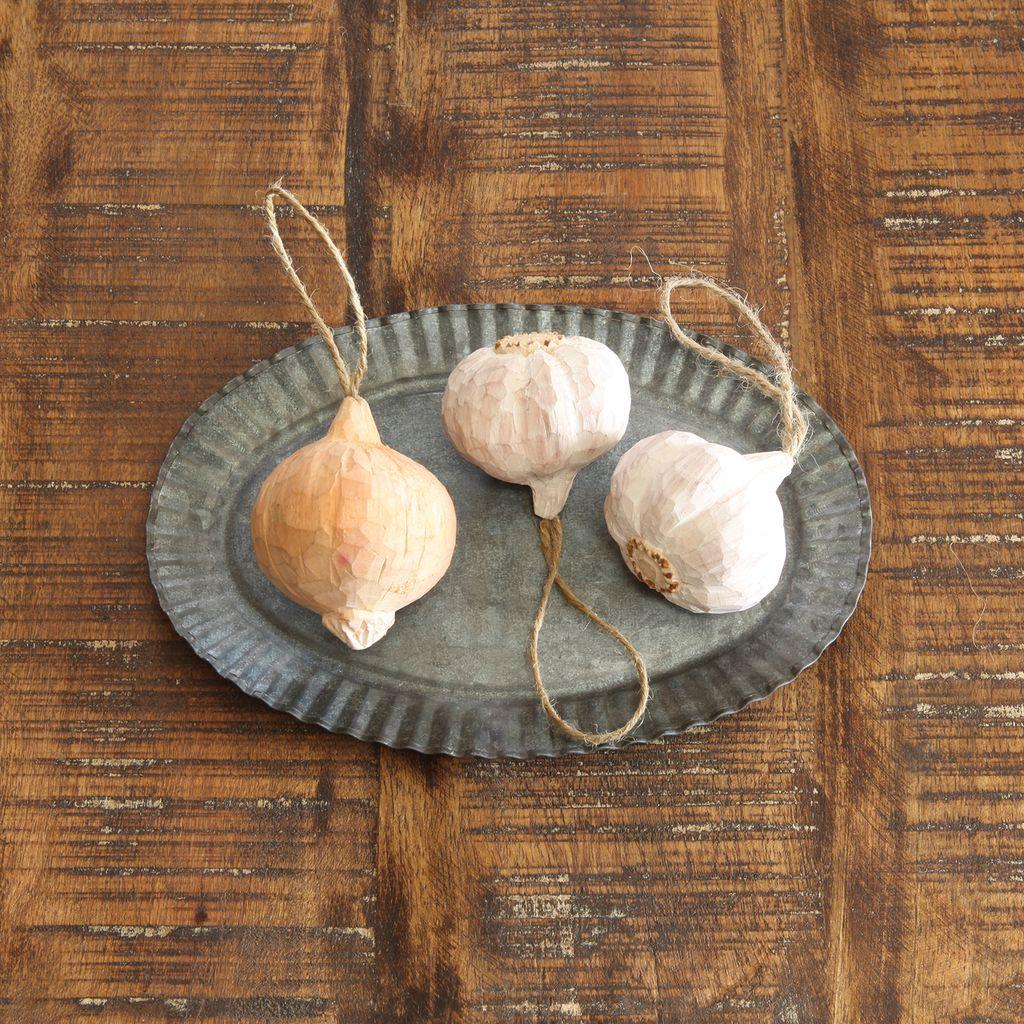 HomArt Carved Wood Vegetable Ornament - Garlic