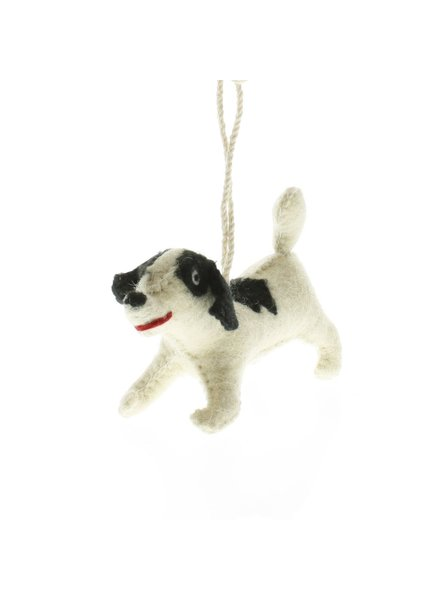 HomArt Felt Dog Ornament - Black Spotted Terrier