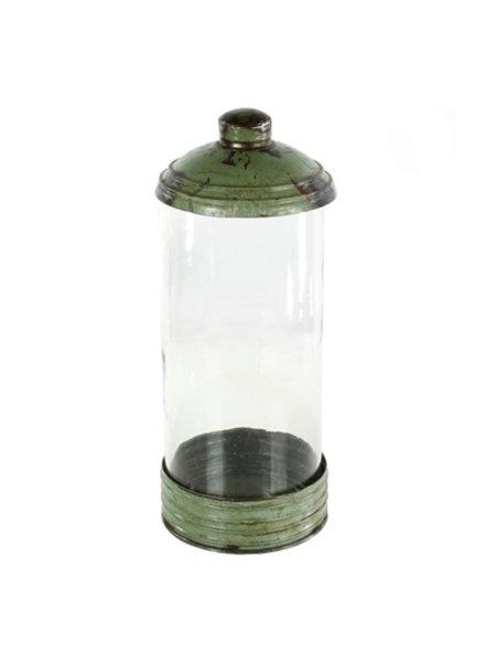 HomArt Glass & Reclaimed Metal Canister - Lrg - Green