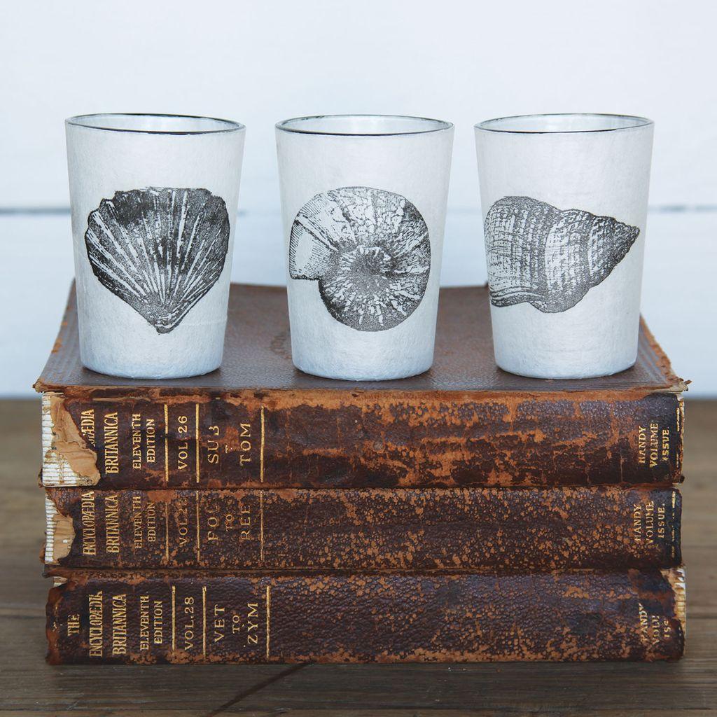 HomArt Stamped Glass Votive -  Set of 3 Assorted Seashells