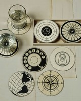 Circular Wood Coasters - Set of 12 - 2 Each design - Natural Wood