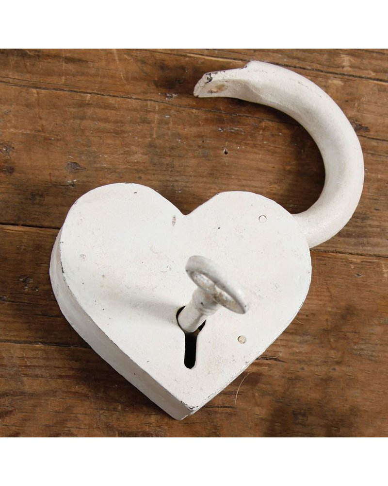 HomArt Heart Lock and Key - Cast Iron Antique White