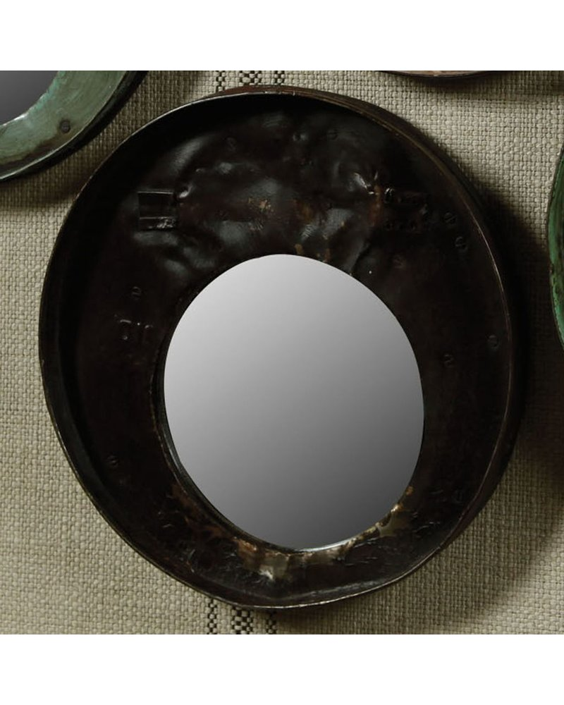 HomArt Reclaimed Metal Drum Lid Mirror Black