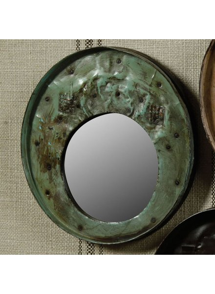HomArt Reclaimed Metal Drum Lid Mirror Grey