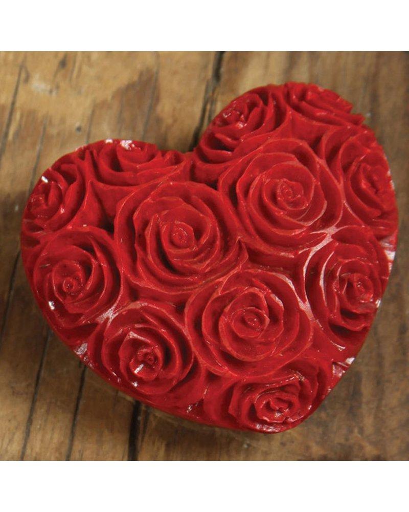 HomArt Lrg Red Soapstone Carved Rose Heart