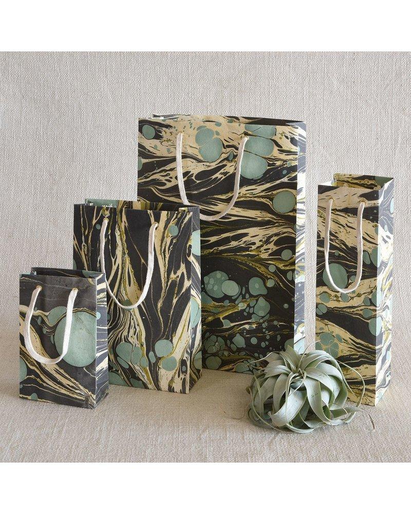 HomArt Marbleized Paper Gift Bag - Med-Aqua
