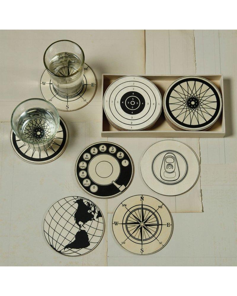 Circular Wood Coasters - Set of 12 - 2 Each design - Natural Wood