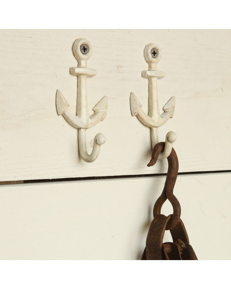 HomArt Anchor Wall Hook Cast Iron - White