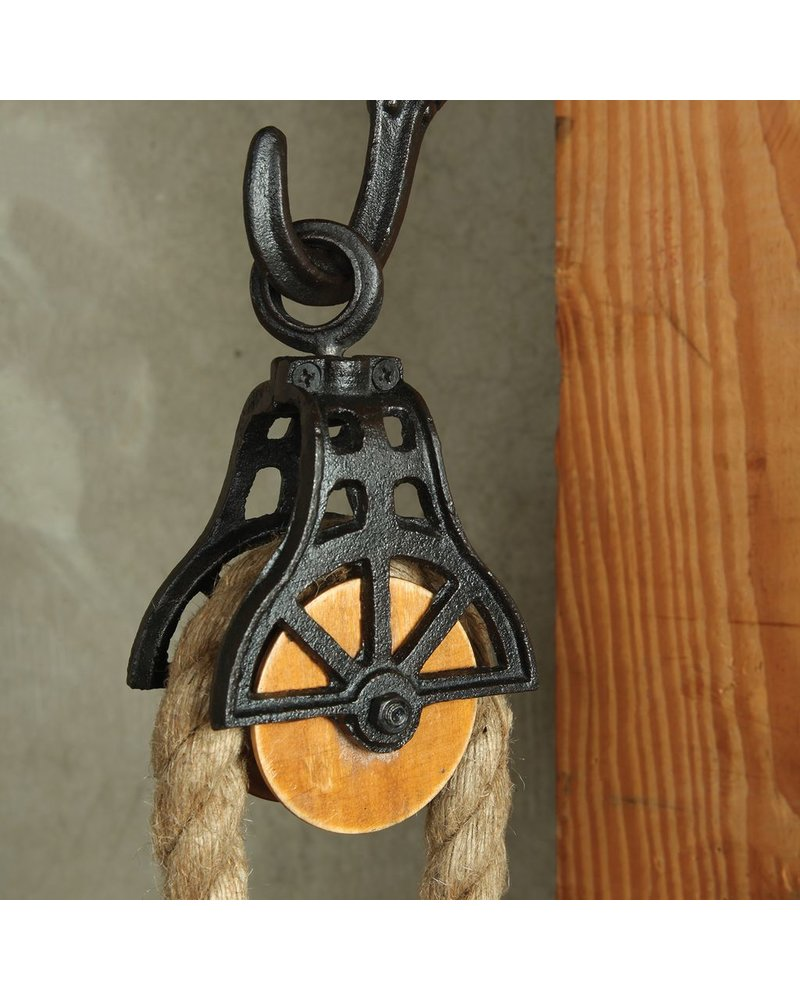 HomArt Market Cast Iron and Wood Pulley - Antique Black