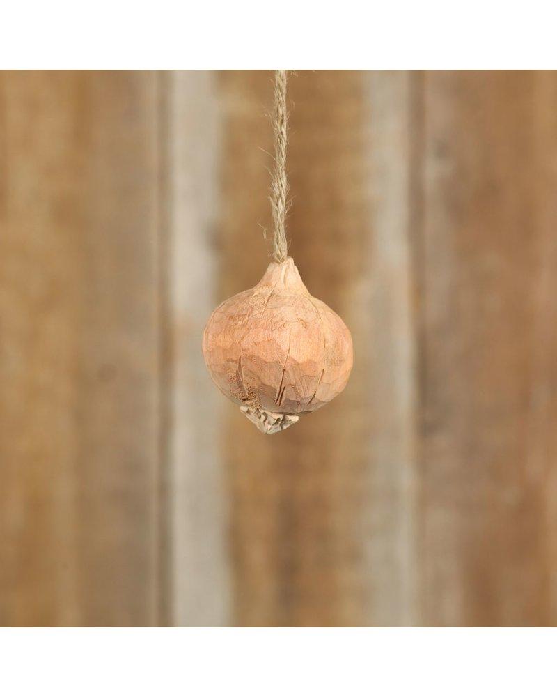 HomArt Carved Wood Vegetable Ornament - Onion