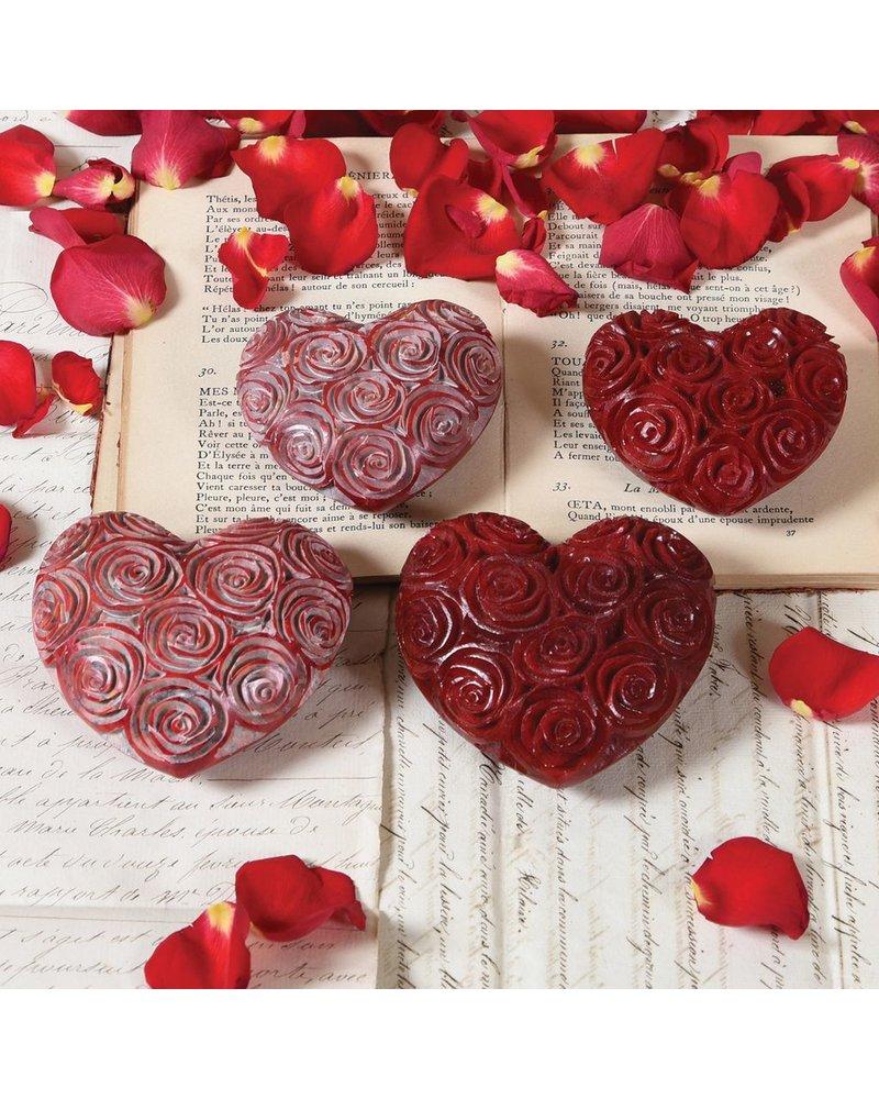 HomArt Sm Pink Soapstone Carved Rose Heart