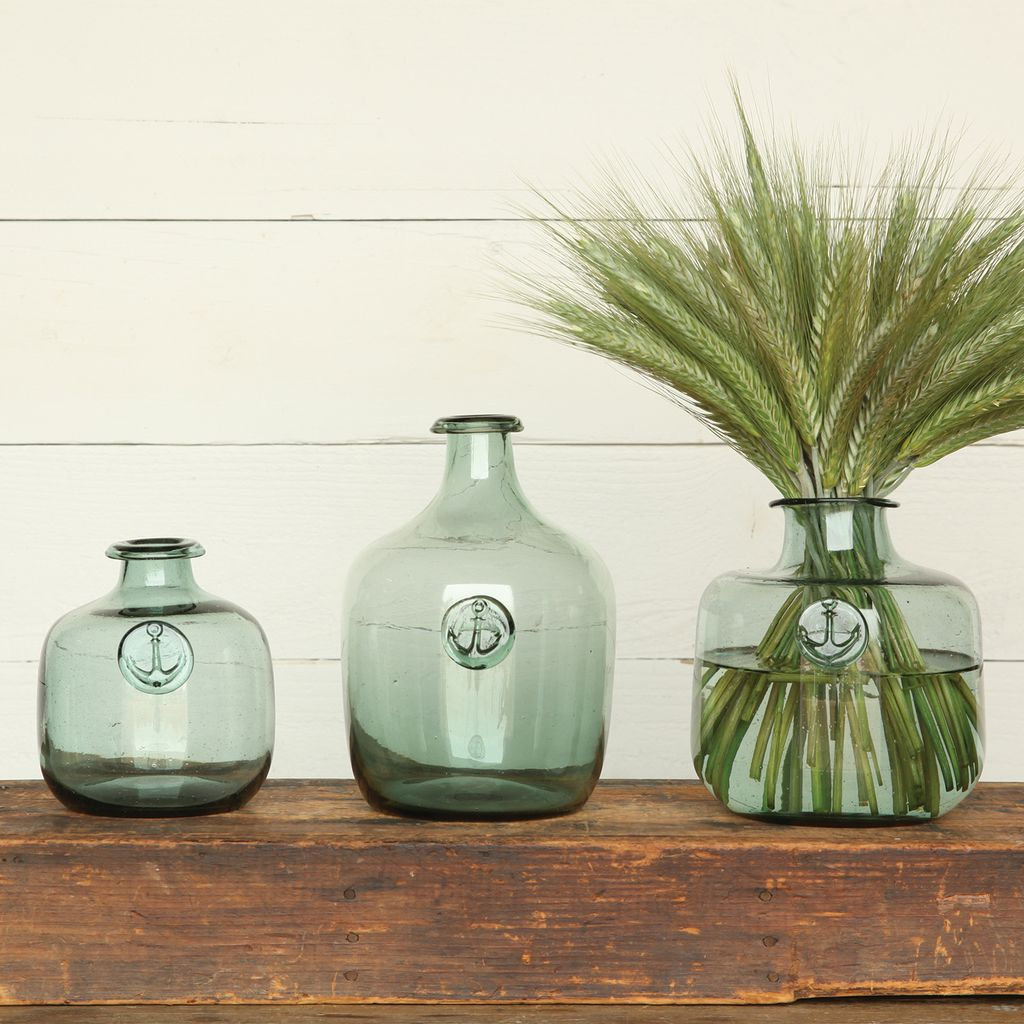 HomArt Anchor Stamped Glass Bottles Med - Smoke Green