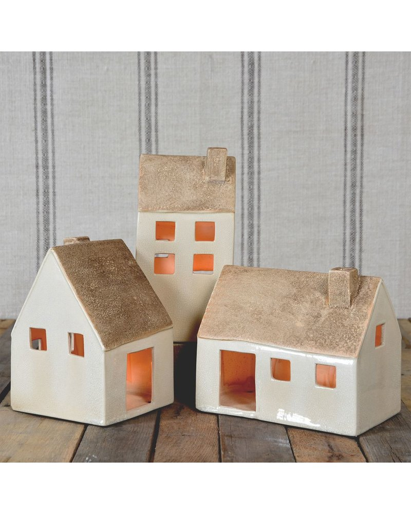 HomArt Ceramic Cottages - Set of 3 Assorted - Lrg-Antique White