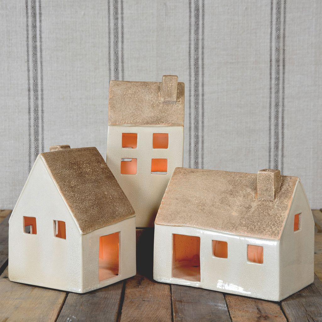 HomArt Ceramic Cottages - Set of 3 Assorted - Lrg-Antique White