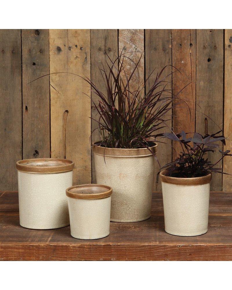 HomArt Baxter Ceramic Cachepots - Petite Antique White