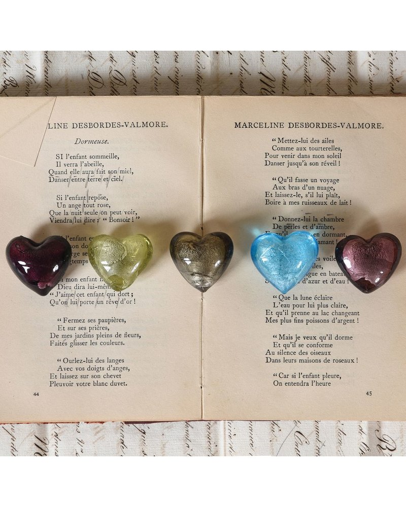 HomArt Venetian Glass Heart Platinum (Half Bakers Dozen Online Only)