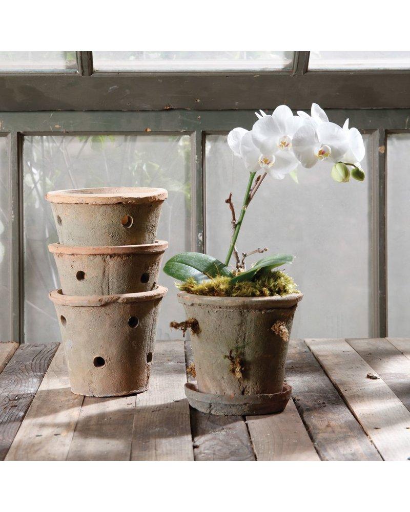 HomArt Rustic Terra Cotta Orchid Pot Antique Red