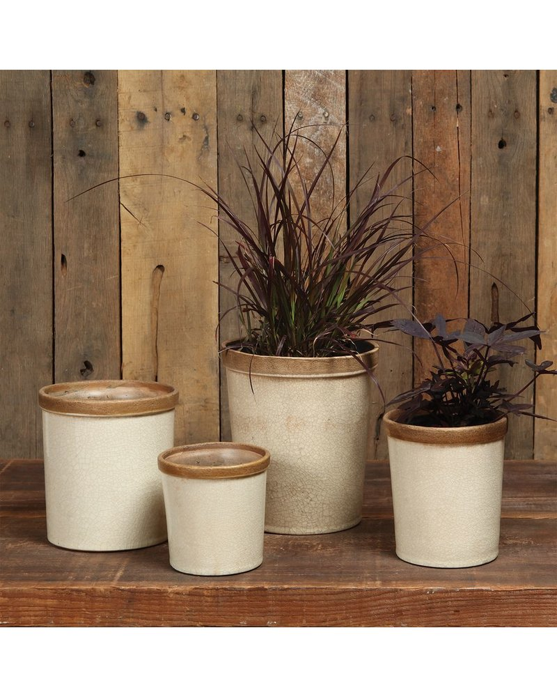 HomArt Baxter Ceramic Cachepots - Lrg Antique White