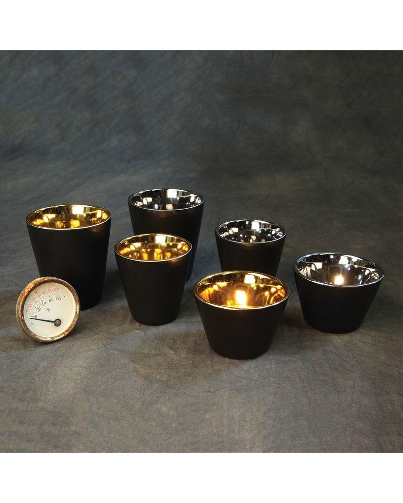 HomArt Raas Black Ceramic Votive Cup - Gold Interior - Low
