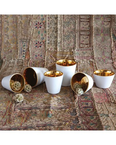 HomArt Raas White Ceramic Votive Cup - Gold Interior - Low