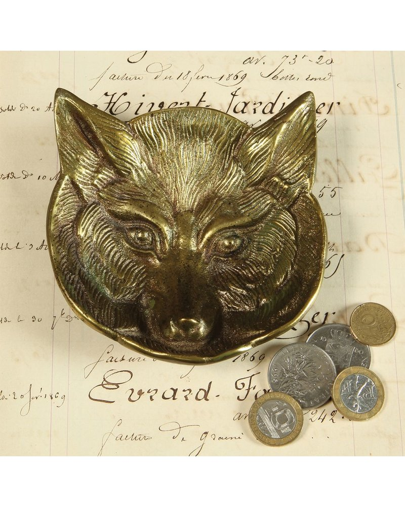 HomArt Fox Cast Metal Dish - Antique Brass