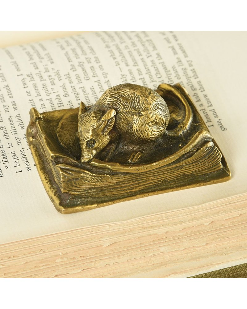 HomArt Library Mouse Brass Paperweight-Antique Brass