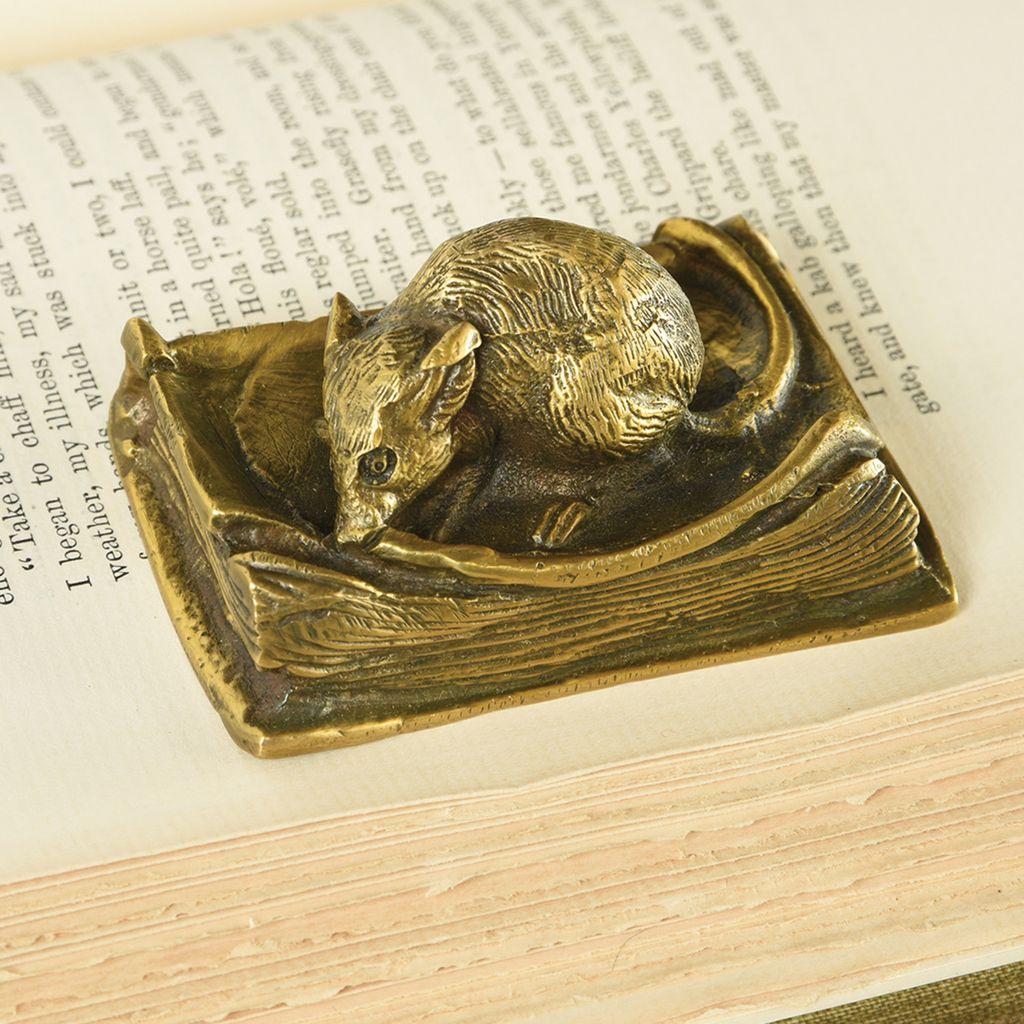 HomArt Library Mouse Brass Paperweight-Antique Brass