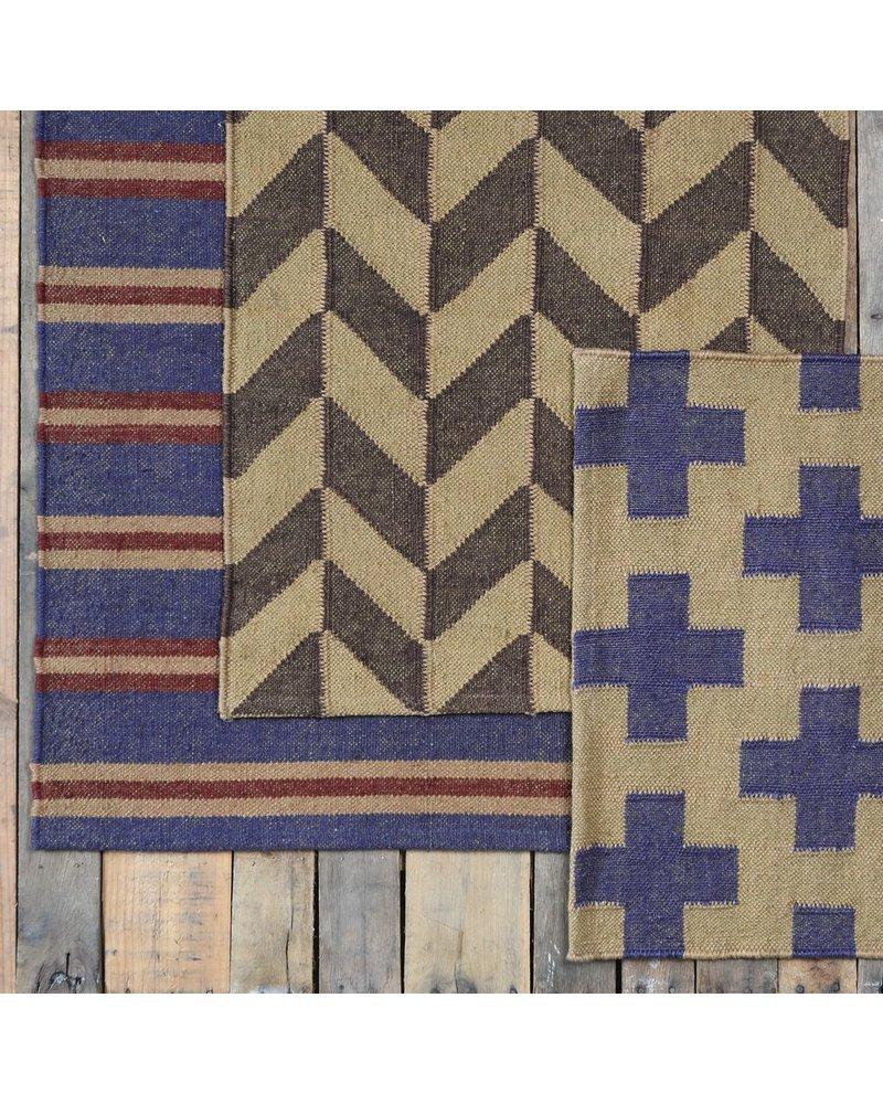 HomArt Heritage Kilim Rug 2x3-Brown / Ivory Chevron