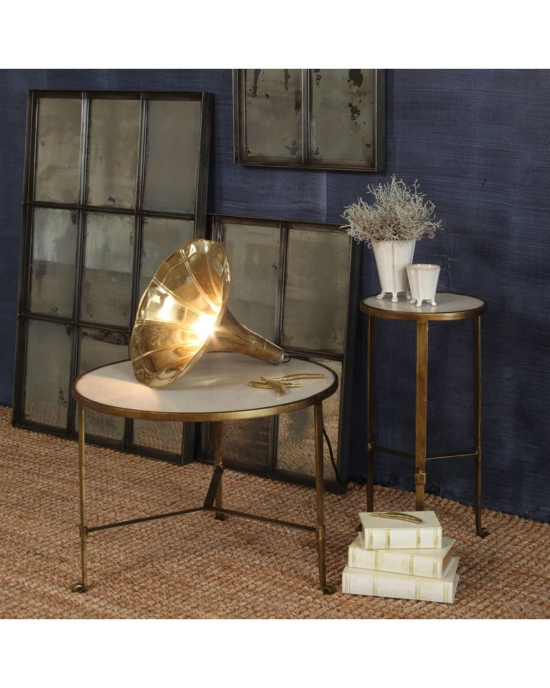 HomArt Savoy Iron & Stone Coffee Table - Antique Brass with White Marble