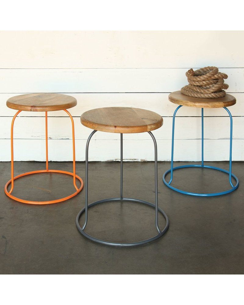 HomArt Graham Iron and Wood Stool - Orange