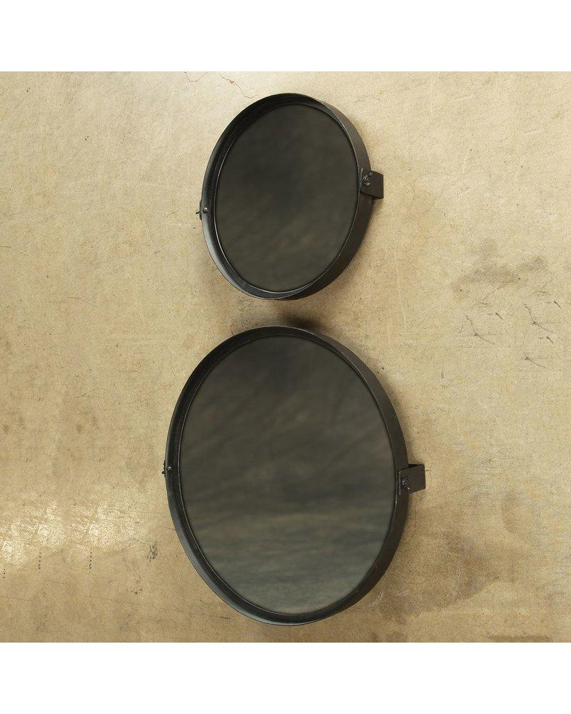 HomArt Pivot Iron Mirror, Rnd - Lrg - Black Waxed