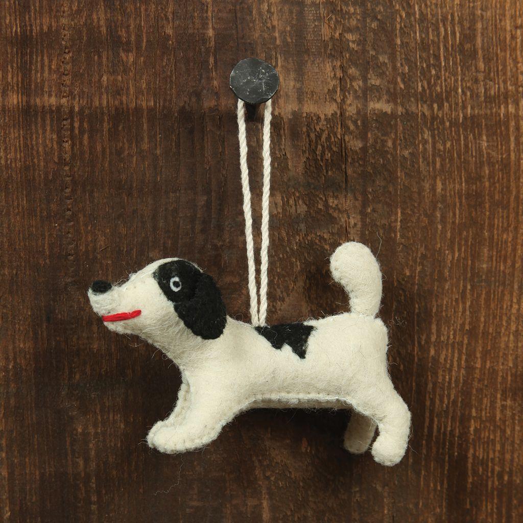 HomArt Felt Dog Ornament - Black Spotted Terrier