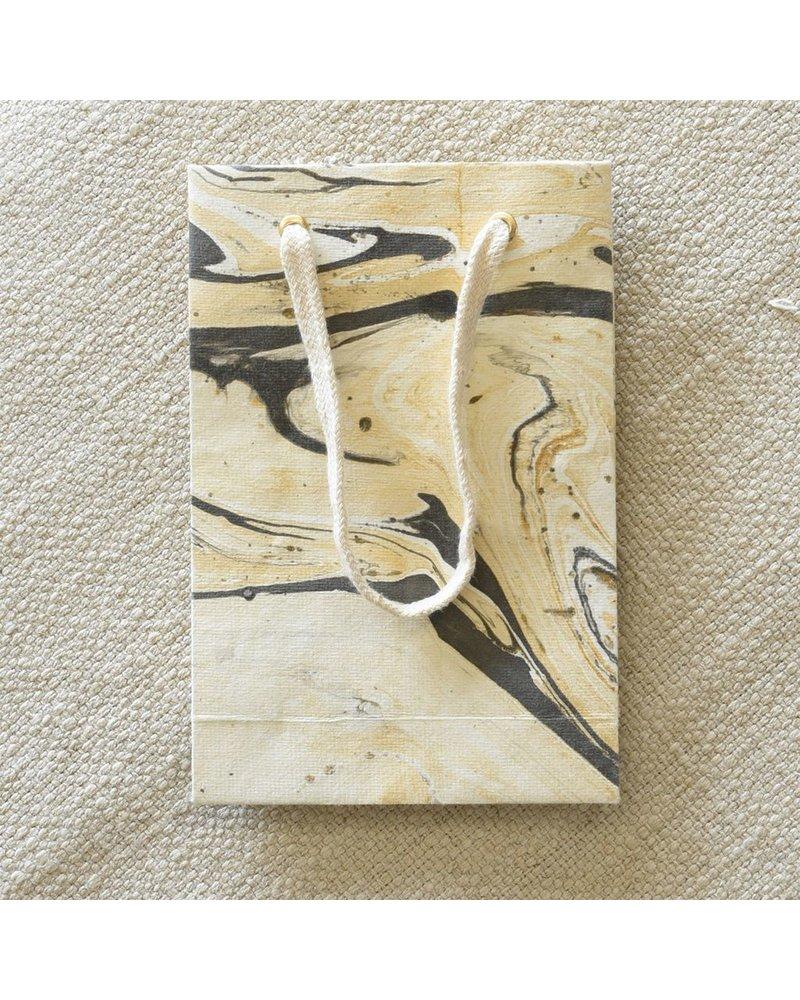 HomArt Marbleized Paper Gift Bag - Sm-Grey