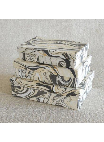 HomArt Marbleized Paper Nesting Boxes - Set of 3-Grey