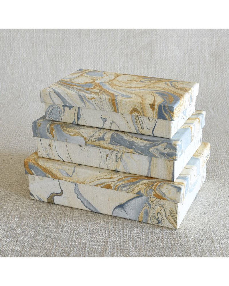 HomArt Marbleized Paper Nesting Boxes - Set of 3-Blue
