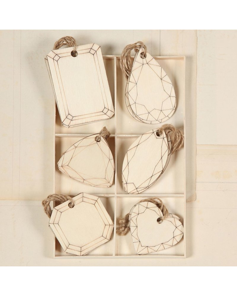 HomArt Gem Wood Hangtags - Assortment of 6, Box of 18