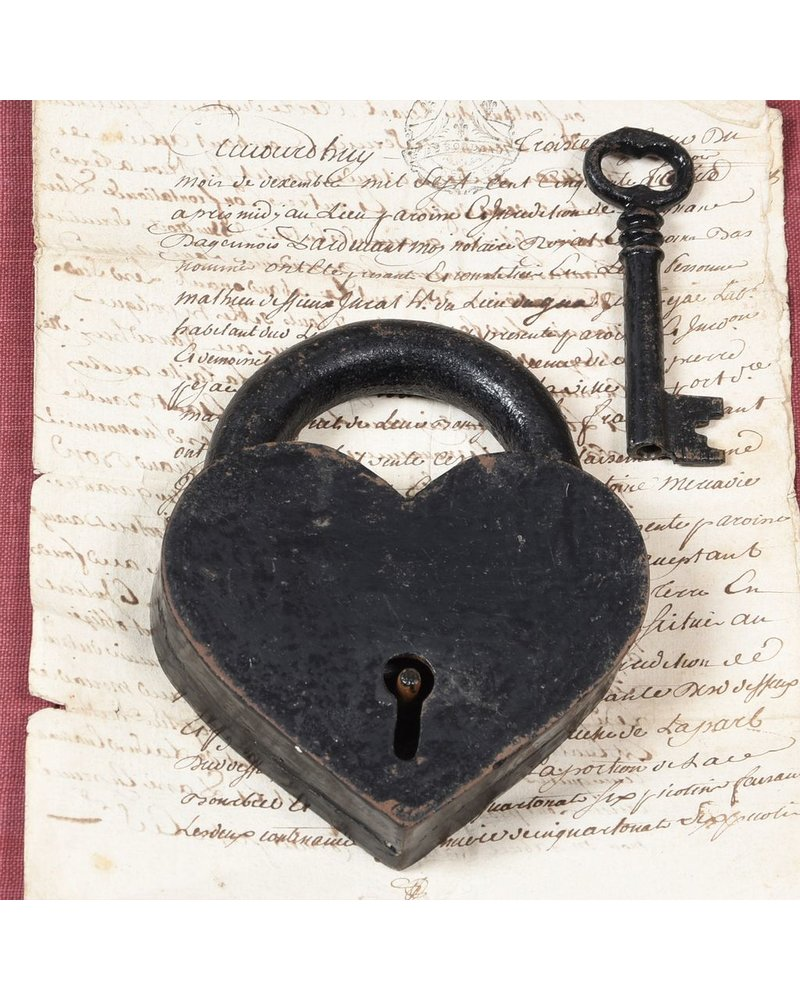 HomArt Heart Lock and Key - Cast Iron Black