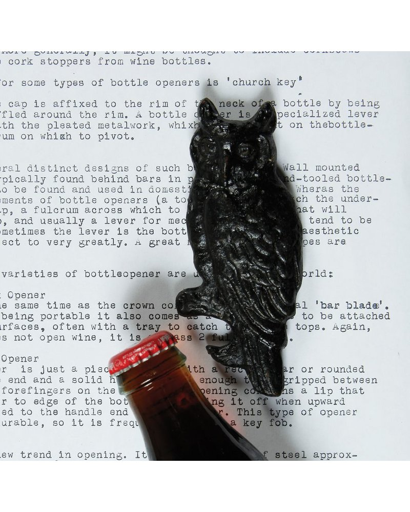 HomArt Owl HomArt Cast Iron Bottle Opener in Black