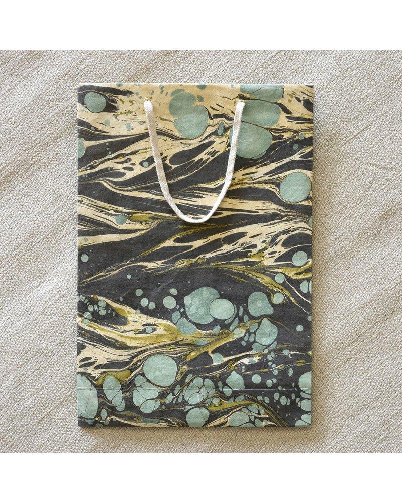 HomArt Marbleized Paper Gift Bag - Lrg-Aqua