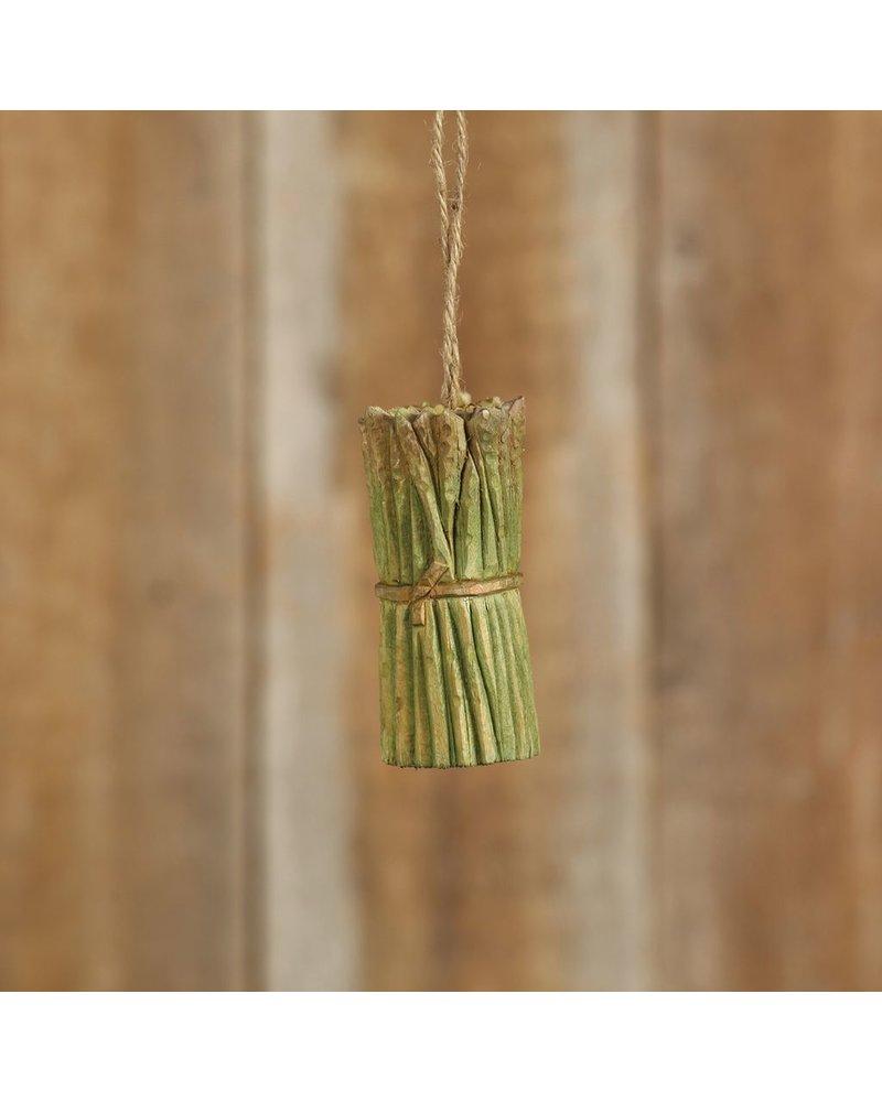HomArt Carved Wood Vegetable Ornament - Asparagus